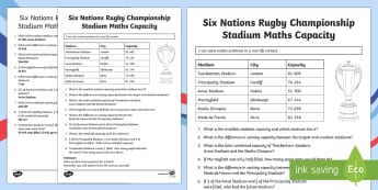 Six Nations Rugby Championship Stadium Maths Capacity Activity-Scottish - CfE, calendar events, Scotland, Scottish, traditions, history, celebrations, six nations, rugby, 6 n