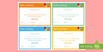 Maths 'Resilience' Certificate - Rewards, Learning, Positive, Praise, Award, Certificate, Recognition
