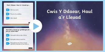 Cwis Y Ddaear, Haul a'r Lleuad PowerPoint-Welsh