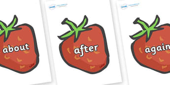 KS1 Keywords on Strawberries - KS1, CLL, Communication language and literacy, Display, Key words, high frequency words, foundation stage literacy, DfES Letters and Sounds, Letters and Sounds, spelling