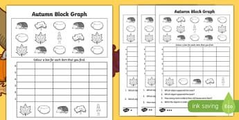 Autumn Count and Graph Activity Sheet, worksheet