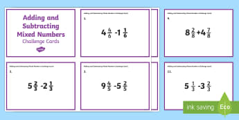 Adding and Subtracting Mixed Numbers Challenge Cards - adding mixed numbers, subtracting mixed numbers, problem solving, fractions, addition, subtraction,