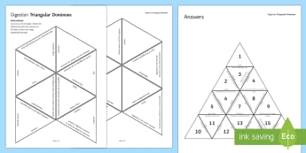 Digestion Triangular Dominoes - Tarsia, Dominoes, Digestion, Digestive System, Enzymes, Stomach, Intestines, Bowels, Egestion, plenary activity