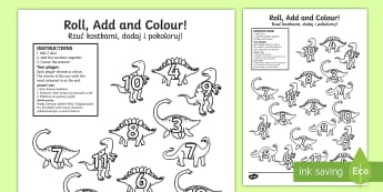 Dinosaur Colour and Roll Activity Sheet English/Polish - Dinosaur Colour and Roll Activity Sheet - dinosaurs, dinosaur games, dinosuar, dinsaur, dinosour, di