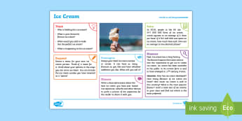 Summer: Ice Cream KS2 Exploration Sheet - summer,ice cream, beach, sun, seasons, KS2, Imagine (KS2)