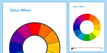 Colour Wheel - colour, colour wheel , spectrum, primary colour, secondary colour, chart, complimentary, contrasting, black, white, red, green, blue, yellow, orange, purple, pink, brown