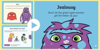 Feeling Jealous PowerPoint - emotions, feelings, PSHE, behaviour, envy