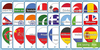 Welcome Balloons Display Posters - EYFS, Early Years, KS1, Key Stage 1, Display, Multi-Language, Welcome, New Term, New School Year, We