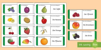 Fruit Loop Cards German - healthy eating, nutrition, mfl, languages