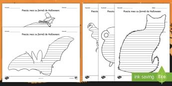 Halloween Poezie cu formă - scriere, scriere creativă, compuneri, poezii, activități integrate, română,