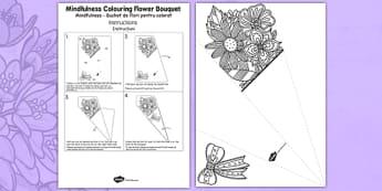Mindfulness Colouring Flower Bouquet Romanian Translation - romanian, calm, stress relief, art, decoration, adult, colours, pattern