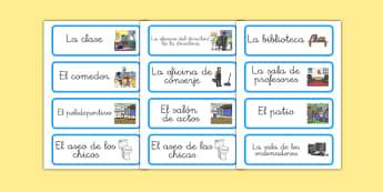 Etiquetas de lugares del colegio - vocabulario, escuela, salas, nombre