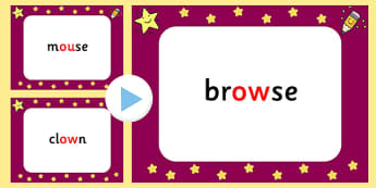 Quick Read 'Ow' and 'Ou' Sound Words PowerPoint - ou, ow, sound