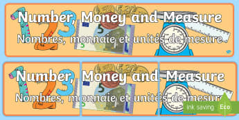 Number, money and measure Display Banner English/French - Number Money and Measure Display Banner CfE - display banner, cfe, abnner, meausre, mearsure#, EAL F