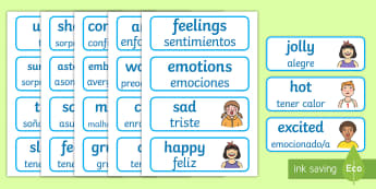 Emotions Word Cards English/Spanish - flashcards, feelings, special needs, labels communication, speech and language, free, kids, difficul