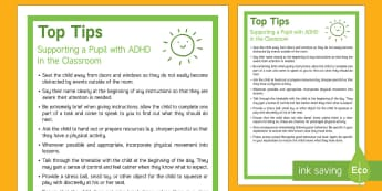 Classroom Tips for Supporting Pupils with ADHD Adult Guidance - adhd, add, adult, guidance, tips, classroom, teacher, sen, help