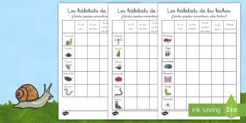 Ficha de investigación: Los hábitats de los bichos - libélula, abeja, caracol, hormiga, típula, escarabajo, mariposa, oruga, gusano, mariquita, cochini