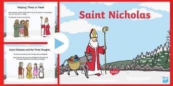 KS1 Saint Nicholas Facts PowerPoint - Christmas, Nativity, Jesus, xmas, Xmas, Father Christmas, Santa, saint, Saint Nicholas, patron, sail, saint nicholas day, st nicholas day