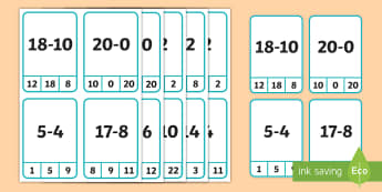 subtraction-from-20-peg Cards - Subtraction from 20 Peg Cards - activities, game, games, pegs, substraction, suntraction, subtrction