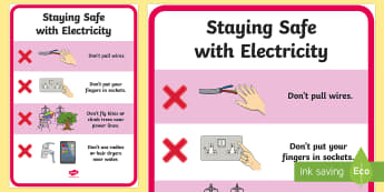 Staying Safe with Electricity Poster - safety, electricity, electric, home, house, shock