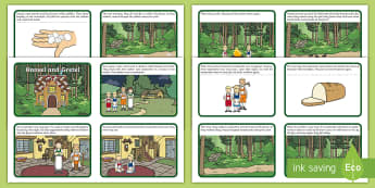 Hansel and Gretel Story Sequencing (4 per A4) - Hansel and Gretel, Brothers Grimm, sequencing, witch, Hansel, Gretel, gingerbread house, fairytale, traditional tale, woodcutter, forest, story, story sequencing, story resources,