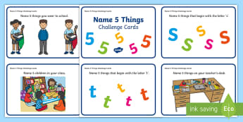 Name 5 Things School Challenge Cards - School items, things in School, Pair discussions, Group work, station teaching