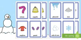 Traova le Coppie Gioco Invernale - Trova, le ,coppie, gioco, inverno, invernale, italiano, italian, scuola