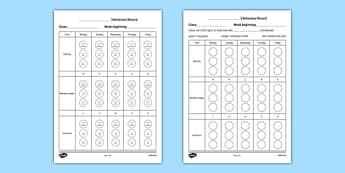 Pupil Behaviour Record Sheets Checklist-Irish