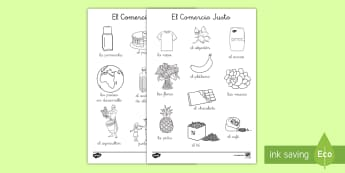 Hojas de colorear: El Comercio Justo - Fairtrade, comercio justo, colorear, colorea, colores, pintar, comercio, vocabulario,Spanish