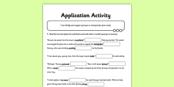 Synonyms and Antonyms Application Activity: Missing Words - GPS, synonym, antonym, word, meaning