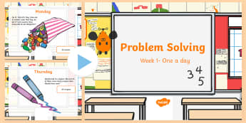 Problem Solving One a day PowerPoint Week 1 - Solving, Rude, Addition, Subtraction, One Step, Two Step, Sums, Words Problems,Irish