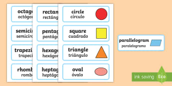 2D Shapes Word Cards English/Spanish - 2D Shape names, Shape Flashcards, Shape Pictures, Shape Words, 2D flashcards, numeracy, geometry, sh