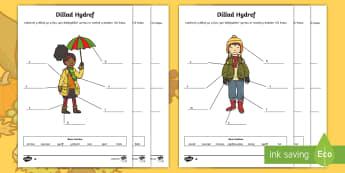 Labeli Dillad yr Hydref Taflenni Gwaith Gwahaniaethol - labeli, dillad, Hydref, Cymraeg, ysgrifennu, label, clothes, writing, theme, thema, gwahaniaethol, d
