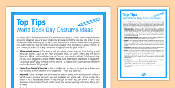 Top Tips World Book Day Costume Ideas - top tips, world book day, costume ideas, top, tips