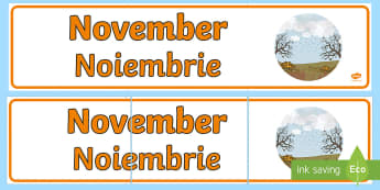 November Display Banner English/Romanian - November Display Banner - november, display banner, display, banner, months, year, EAL