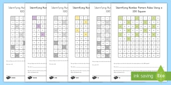 Identifying Number Pattern Rules Using a 100 Square Differentiated Activity Sheets  - patterns, 100 square, 100 board, number patterns, rules, sequencing
