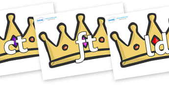 Final Letter Blends on Crowns - Final Letters, final letter, letter blend, letter blends, consonant, consonants, digraph, trigraph, literacy, alphabet, letters, foundation stage literacy