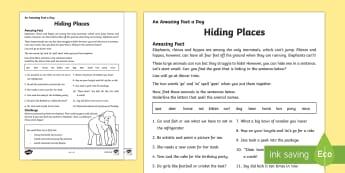 Hiding Places Activity Sheet