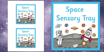 Space Themed Sensory Deep Tray Label - tray label, space, label