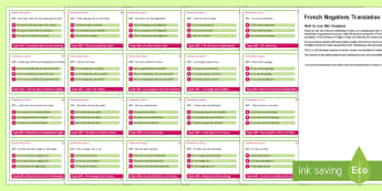 Negatives Translation Challenge Cards French - French, translation, grammar, negative,French