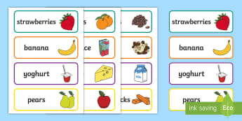 Snack Time Food Photo Word Cards - Snack Time Food Photo Word Cards - snack time, ready made, display pack, Timw, food, snacks, healthy