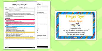 EYFS Colander Tangle Finger Gym Activity Plan and Prompt Card Pack