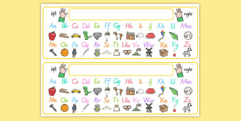 Alphabet Desk Strip With Pictures - a-z, visual aid, wriitng aid