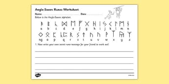 Anglo-Saxons Runes Alphabet Worksheet - anglo saxons, anglo-saxons, anglo saxon runes, anglo saxon worksheet, anglo saxon runes worksheet, ks2 history