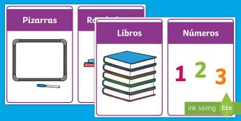 Etiquetas: El material de la clase - identificación escolar, ordenar, organización Spanish-translation