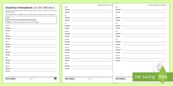 Hazardous Homophones List One Definitions Activity Sheet - Spelling, homophone, homophones, KS3, SPAG, writing, Language, worksheet