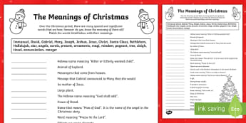 The Meanings of Christmas Activity Sheet-Australia