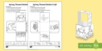 Spring-Themed Basket Craft - spring, craft, basket, net, cube, seasons, KS1, EYFS, easter,