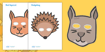 Autumn Animal Role Play Masks - role play mask, role play, hedgehog, squirrel, autumn, hibernation