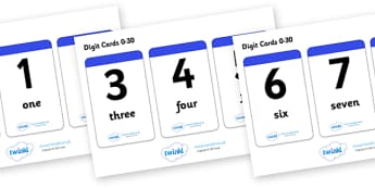 Number & Word Digit Cards 0-30 - ESL Number Resources